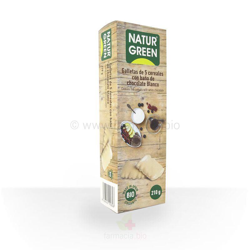 Galletas 5 cereales baño choco blanco BIO 210 g