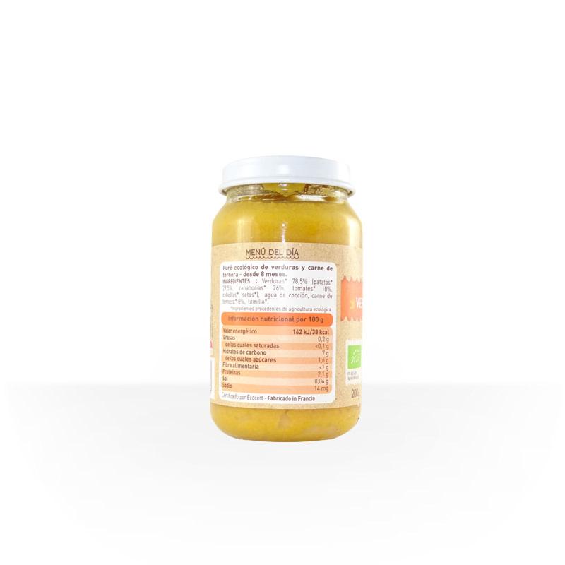 Menú verduras y ternera 200 g