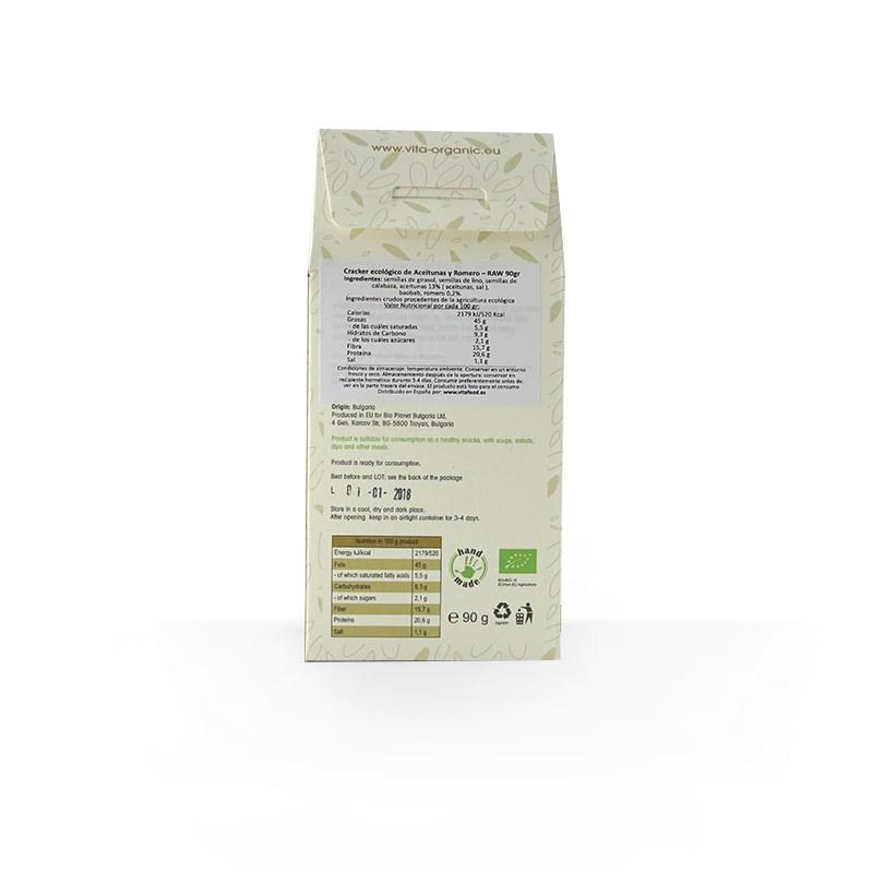 Cracker crudivegano aceitunas-romero ECO 90g